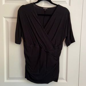 Express, L, Black Cross Chest Ruched Tee